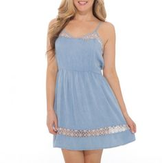 Chambray Tank Dress with Lace Inserts