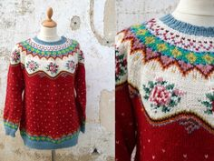 Vintage 1970s/70s  Fair Isle floral sweater /folk wool sweater size S/M
