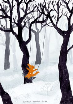 The country of childhood is the greatest! The artist is the illustrator 卤 猫 -Oamul. Fuchs Illustration, Children's Book Illustration, Winter Illustration, Art Illustrations, Fox Art, Art Graphique, Cute Drawings, Illustrators, Fantasy Art