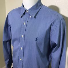570d181cf6fe Polo Ralph Lauren Shirt Mens 16 34/35 Button Front Long Sleeve Blue Striped  #fashion #clothing #shoes #accessories #mensclothing #shirts (ebay link)