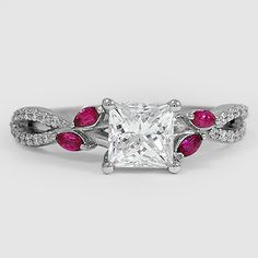 18K White Gold Luxe Willow and Sapphire Diamond Ring // Set with a 1.00 Carat, Princess, Ideal Cut, H Color, VVS2 Clarity Diamond (Modified with Pink Sapphire Accents) #BrilliantEarth