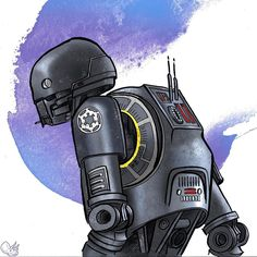 K2SO. Best. Droid. Ever. 4 of 9 in a series: #9Robots Lines are pen & ink on paper. Color in Photoshop with a Wacom Intuos tablet. #K2SO #RogueOne #StarWars #marchoftherobots #marchofrobots #drawing #penandink #photoshop #wacom #illustration #digital #fanart #robot #robots
