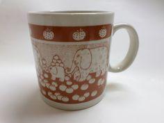 Vtg. Elephants in a Pumpkin Patch Coffee Tea Mug Taylor & NG 1978 Japan #TAYLORNG