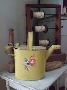 Antique Primitive Hand Crafted Lazy Kate and a Prim Watering Can!!