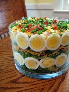 Southern Seven Layer Salad Recipe from Jeana — Layer egg slices over lettuce in bowl. Continue to layer vegetables in this order: peas, remaining lettuce, crumbled bacon, & shredded cheese. Combine mayonnaise & sugar; spread over top, spreading to edge of bowl to cover entire salad!