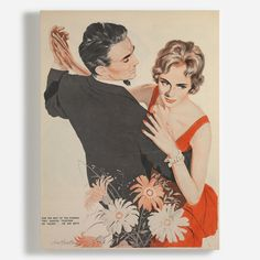 Birch Ply Prints of Classy Couple Dancing by Land of Lost Content x Canvas Art Prints, Canvas Wall Art, Funky Wallpaper, Cultural Artifact, Classy Couple, Shall We Dance, Photo Pin, Retro Illustration, Couple Art
