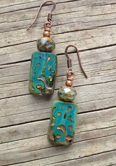 Artisan Jewelry / Blue Green Earrings / Green Glass by Lammergeier, $20.00