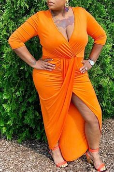 8156f2289482cc Shyfull Euramerican Asymmetrical Orange Ankle Length Dress