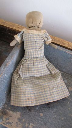 """19th C Small 10"""" Early Old Antique Cloth Doll Homespun All Original Clothing"""