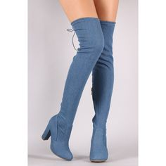 Bamboo Drawstring-Tie Chunky Heeled OTK Fitted Denim Boots ($58) ❤ liked on Polyvore featuring shoes, boots, above the knee boots, bamboo shoes, zip boots, denim shoes and chunky heel shoes