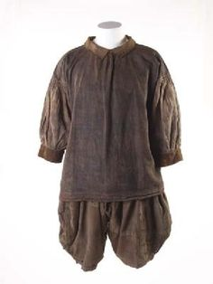 Extremely rare survival of a shirt and breeches, called slops, as worn by sailors from the late 16th through to the 18th centuries. This unique set of loose, practical sailor's clothing reveals life aboard ship. They are made of very strong linen to endure the hard, rough work. There is tar across the front from hauling ropes. The breeches are heavily mended and patched, which the sailor would have done himself. Production Date: 1600-1700