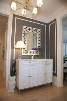 entryway - love the grey wall and the white inset border, now to find the perfect white mirror and table!