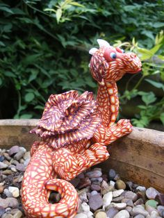 Flame the dragon made from Polymer clay Made by Lorraine @ Soulsecrets
