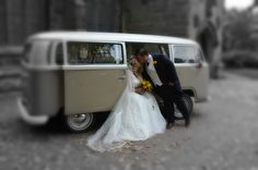 A VW Campervan - what better place to kiss the bride?