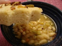 Tuscan White Bean Soup and Caramelized Onion Foccacia