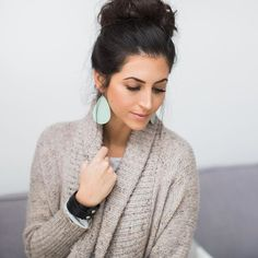 Gorgeous fresh face. Minty Fresh Leather Earrings! Leather Wrap Cuff. #mintyfresh #mint #leatherearrings #nickelandsuede -