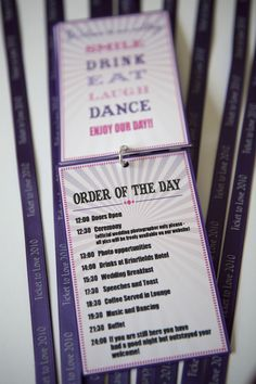 Ticket to love festival themed wedding stationary. Order of the day by Dottie Creations www. Quirky Wedding Invitations, Modern Wedding Stationery, Wedding Invitation Design, Wedding Stationary, Festival Themed Party, Festival Wedding, Wedding Graphics, Dancing Day, Order Of The Day