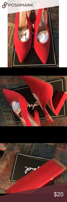 Red pointed slingback pumps Nwot in box, red pointed toe slingback pumps w/chunky heels. Display item so some scuffs on heels nothing visible when wearing them. Qupid Shoes Heels