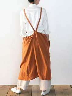 Japanese Dress Sleeveless Strap Linen Apron Solid Dress with Pockets Robes Vintage, Aprons Vintage, Retro Apron, Vintage Dresses Online, Midi Dresses Online, Linen Apron, Apron Dress, Kimono, Fashion Sale