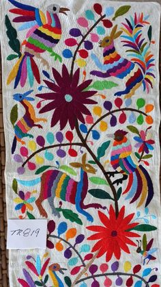 table runner, Otomi fabric, Mexican Textile, hand embroidered, 100% cotton TR819 #Otomifabric