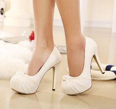 20 White Wedding Shoes Brides Wish They Wore at Their Weddin.- 20 White Wedding Shoes Brides Wish They Wore at Their Wedding Classy Bow Design White High Heel Wedding Shoes - Wedding Shoes Bride, White Wedding Shoes, Wedding Shoes Heels, Prom Heels, Lace Heels, Bride Shoes, Dream Shoes, Crazy Shoes, Me Too Shoes