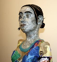 Recycled self-portrait sculpture by Michelle Reader (detail)
