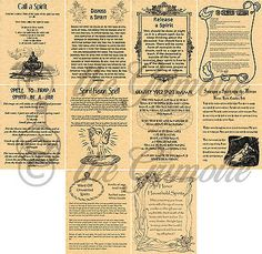 Book of Shadows Spell Pages, 10 SPIRIT SPELLS, Wicca, Witchcraft, Pagan