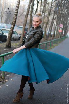 Купить Юбка солнце/юбка миди/ длинная юбка/юбка зимняя - морская волна, однотонный, юбка