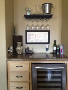 an idea for our desk in the kitchen that we don't use... wine cooler!  Drink station.  Kitchenette fir kids drinks, etc?