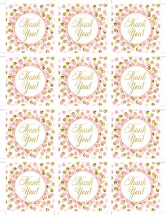 Pink and Gold Thank You Tags Printable, Girl Birthday Party Favors, Baby Shower Thank You Favor Tags, Pink Gold Thank You Tags, Instant Download INSTANT DOWNLOAD, DIGITAL FILE ONLY, NOT A PHYSICAL PRODUCT. Matching invitations: