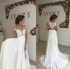 A Line See-through Bateau Lace Appliqued Floor Length Beach Ivory Wedding Dress,Off The Shoulder Par on Luulla