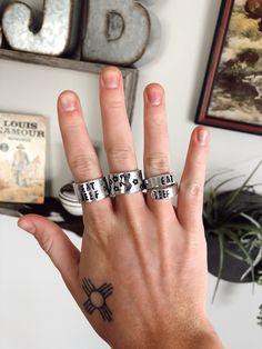 Metal Stamped Bracelet, Stamped Jewelry, Jewelry Stamping, Western Rings, Western Jewelry, Cute Jewelry, Jewelry Rings, Jewelry Ideas, Cowgirl Bling