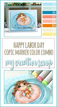 Happy Labor Day Card + Coloring Class Sale - If you struggle coloring water you may want to check out my Copic Marker Water Tutorials. Copic Marker Art, Copic Pens, Sketch Markers, Adult Coloring, Coloring Pages, Copic Markers Tutorial, Color Of The Day, Cute School Supplies, Happy Labor Day