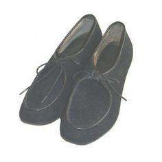 1940s Vintage Shoes Black Suede Lace Up Swing