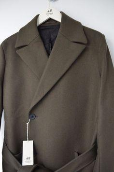 179b8fbc56ec2 Rare H M Studio Collection Coat Wool Blend Beige Olive Long Italy Trend 46  EU