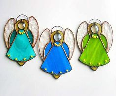 Stained Glass Angel Suncatcher Tiffany window Christmas tree decor
