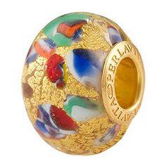 KLIMT Rondelle Gold Foil Vermeil Insert, Murano Glass Charm Beads for Pandora & Chamilia Bracelets