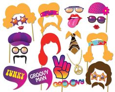 70s Party Photo booth Props Set - 24 Piece PRINTABLE - 1970s party decorations…