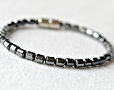 MEN'S HEMATITE MAGNETIC Bracelet Black 5mm Drum bead and