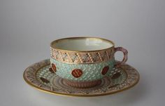 Royal Worcester double walled reticulated antique cup and saucer England-saucer:1879 cup:1889
