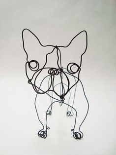 French Bull Dog  Mr Snubbers wire sculpture by EleMcKay on Etsy, $40.00