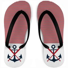 Are you you're team's anchor? These stylized anchor with bats softball flip flops are the perfect choice for the warmer weather! Softball Gifts, Anchor, Flip Flops, Youth, Navy, Red, Design, Hale Navy