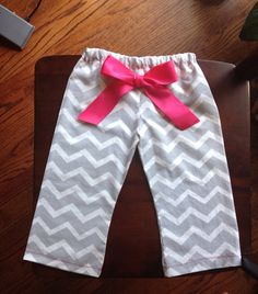 Grey Chevron Pants with Hot Pink stitching and bow on Etsy, $20.00