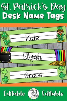 St. Patrick's Day desk name tags are an easy way to add a little seasonal fun to your classroom decor. Use them as student desks name labels, sight word labels, bin labels, cubby labels, and more! Includes 6 different designs.