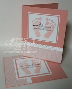 Love To Ink with Christine Pyrch: Baby Prints Stamp set Baby Shower Card Sayings, Baby Shower Cards, Baby Boy Cards, New Baby Cards, Stampin Up Karten, Stampin Up Cards, Homemade Greeting Cards, Homemade Cards, Baby Scrapbook
