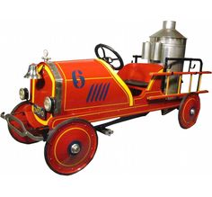 1924 Toledo # 6 Chemical Kids Pedal Fire Truck. Original restored condition. 64 inches.
