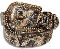 """Western Genuine Leather CowGirl Belt Rhinestones Guns 1.5""""W Camouflage Camo M i need this in my life"""