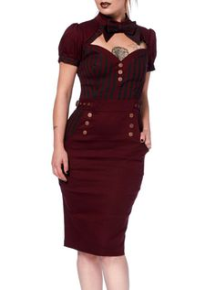 "Women's ""Steampunk"" Pencil Dress by Jawbreaker (Burgundy)"
