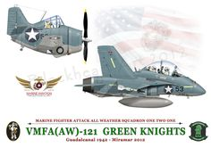 In honor if the 100 Years of Marine Aviation here is a salute to VMFA (AW)-121 The Green Knights. The print shows the F4F Wildcat of Joe Foss who while serving with VMF-121 on Guadalcanal, earned the Medal of Honor, and became an Ace. The F/A-18 in the print is painted in the same colors as his Wildcat. VMFA (AW)-121 is now based at MCAS Miramar in San Diego.