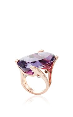 Jorge ADELER 14K Rose Gold, Amethyst and Diamond Ring. This one of a kind ringfeatures an oval Amethyst with Diamond detailing and a 14k Gold  setting.   •Amethyst, 32.8ctw  •Diamond, .58ctw •Made in the  USA •€11,880